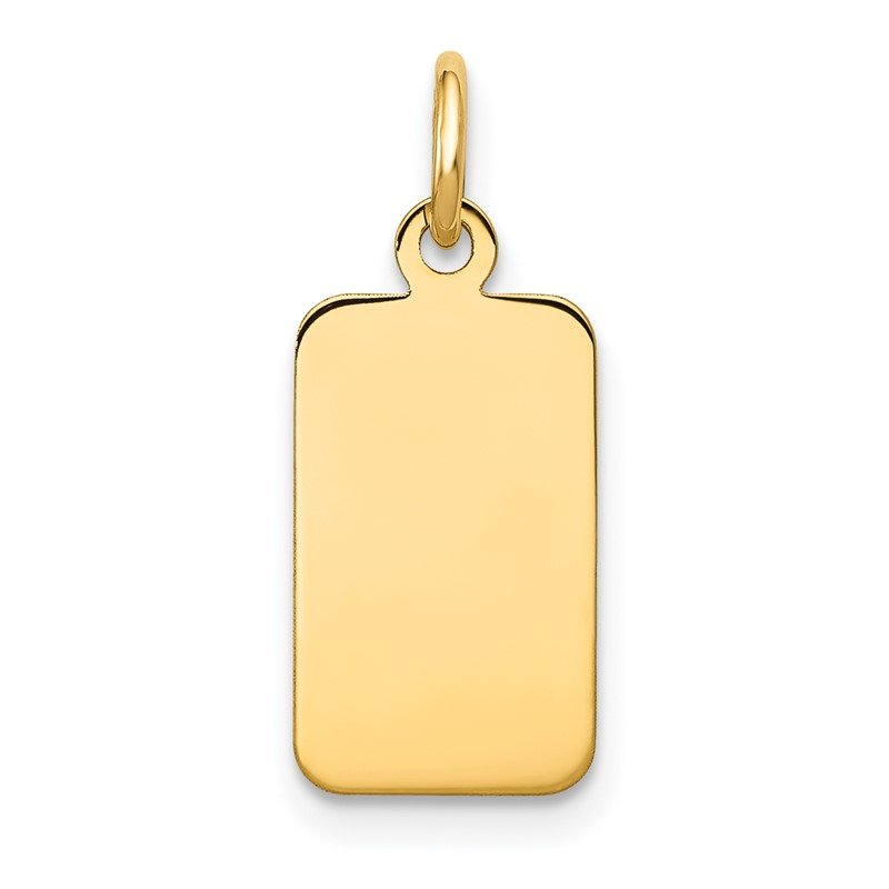 Quality Gold 14k Plain .018 Gauge Engravable Rectangular Disc Charm