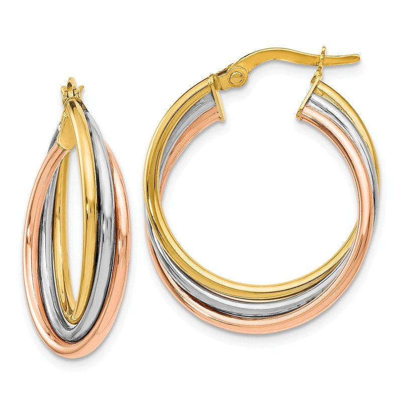 Leslie's Leslie's 14K Tri-color Polished and Textured Twisted Hoop Earrings