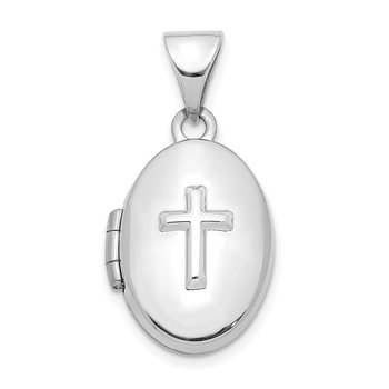 14K White Gold 16mm Cross Oval Locket Pendant