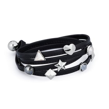 Bracelet. Black leather, 316L stainless steel elements and Swarovski® Elements stones