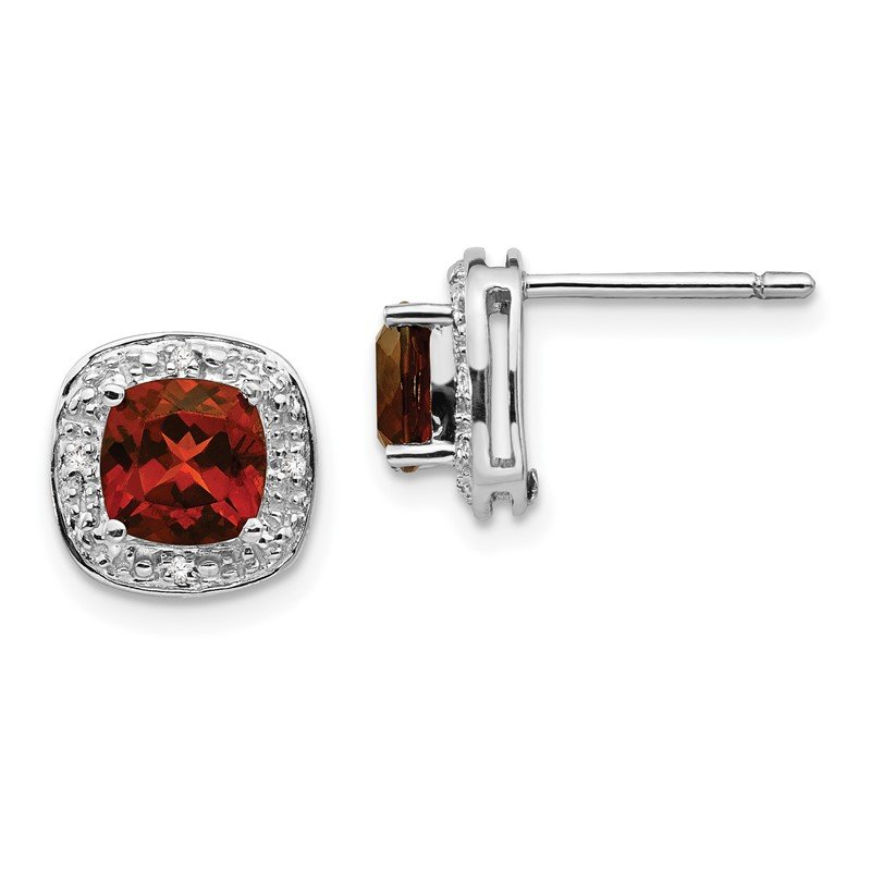 J.F. Kruse Signature Collection Sterling Silver Rhodium Garnet & Diamond Post Earrings