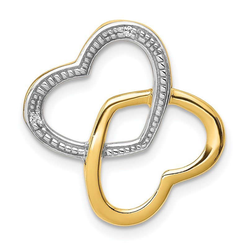 Quality Gold 14k .01ct. Diamond Double Entwined Heart Chain Slide