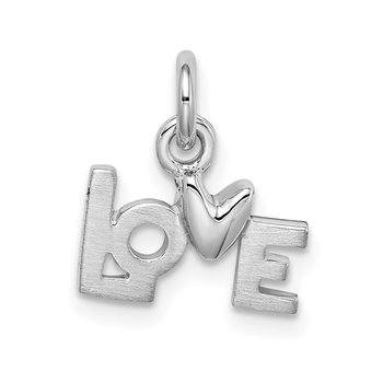 Sterling Silver Polished Rhodium Plated Love Pendant