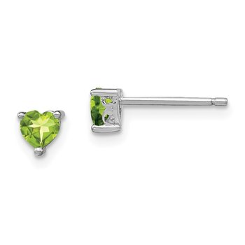 Sterling Silver 4mm Heart Peridot Post Earrings