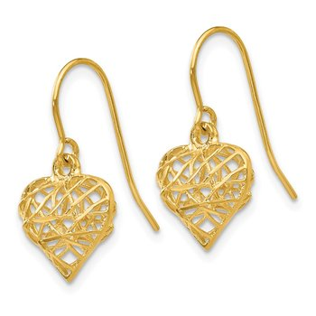 14k Diamond Cut Puffed Heart Dangle Earrings