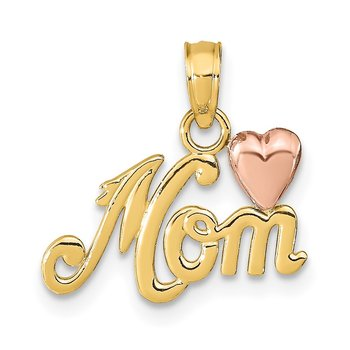 14k Two-tone MOM w/Heart Pendant