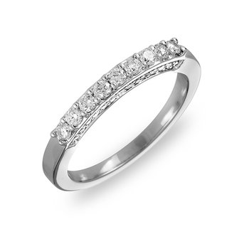 14K WG Diamond Wedding Band prong set