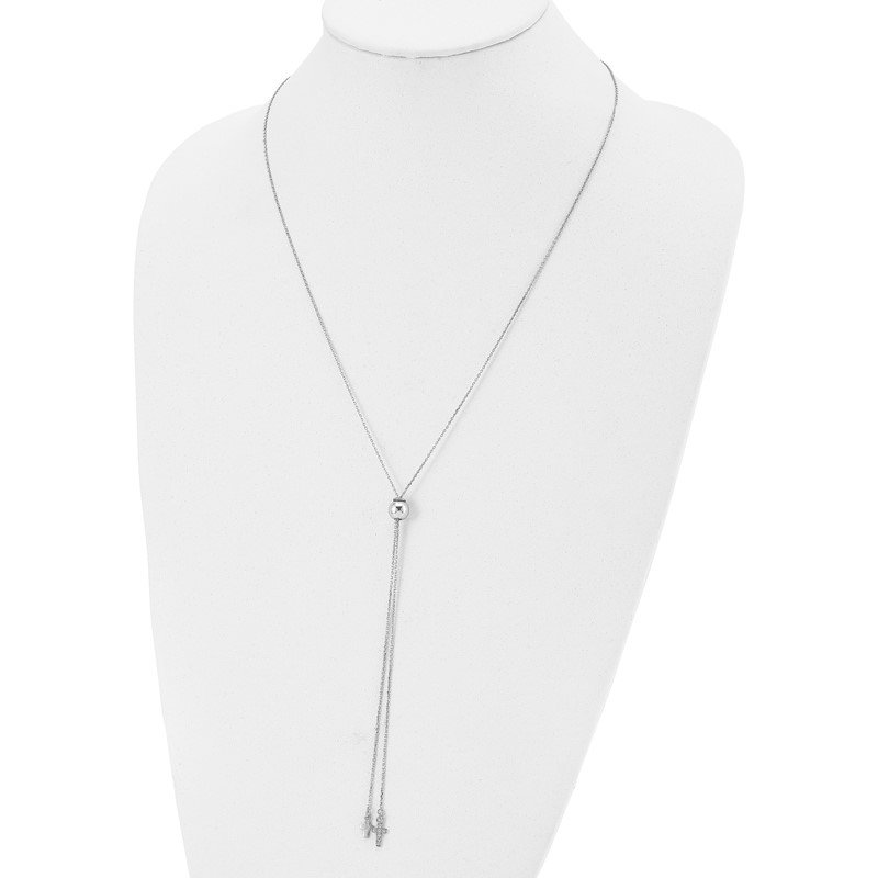 Leslie's Leslie's Sterling Silver Rhodium-plated CZ Cross Adj. Necklace
