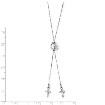 Leslie's Sterling Silver Rhodium-plated CZ Cross Adj. Necklace