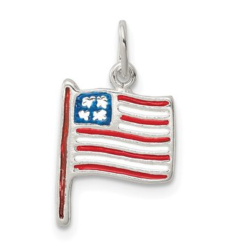 Sterling Silver Polished Enamel American Flag Pendant