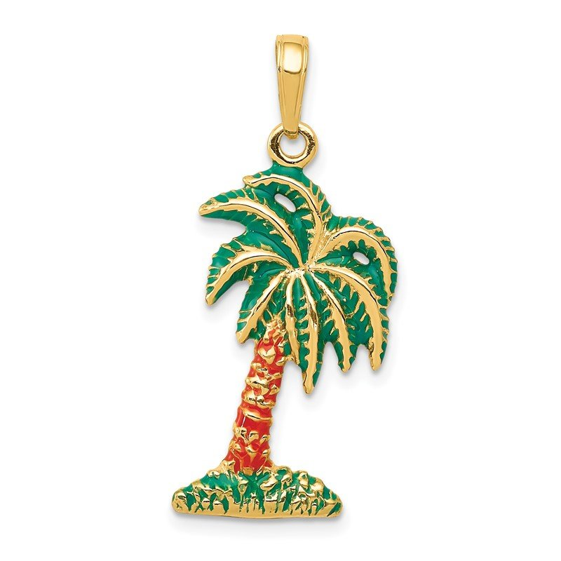 Quality Gold 14k Enameled Palm Tree Pendant