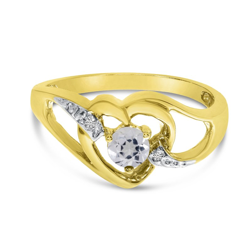 Color Merchants 10k Yellow Gold Round White Topaz And Diamond Heart Ring