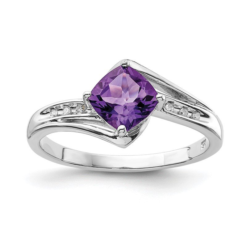Quality Gold Sterling Silver Rhodium Plated Diamond and Amethyst Square Ring