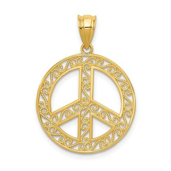 14k Filigree Peace Sign Pendant