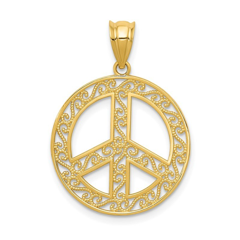 Quality Gold 14k Filigree Peace Sign Pendant