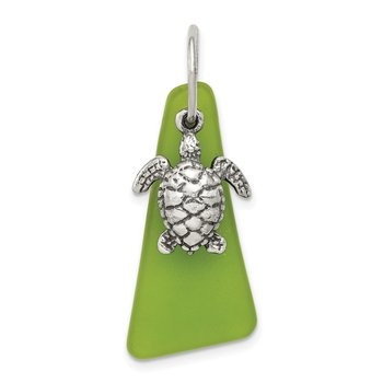 Sterling Silver Green Sea Glass Turtle Pendant