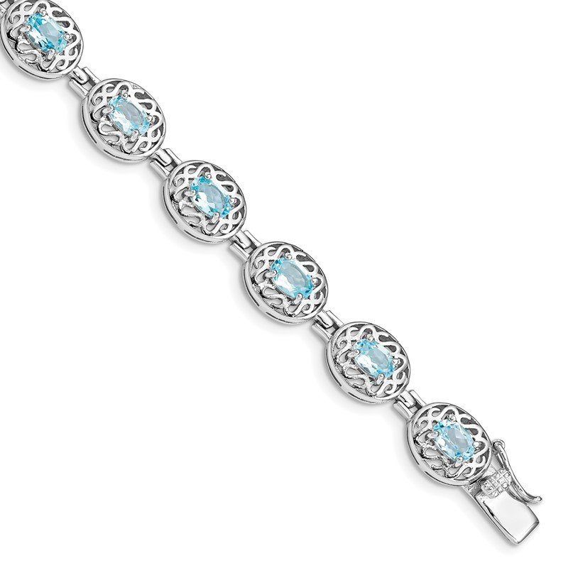 Quality Gold Sterling Silver Rhodium-plated Blue Topaz Filigree Bracelet