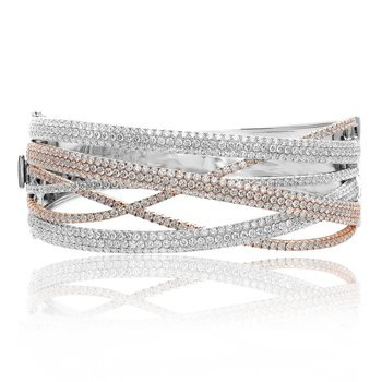 Tri-Colored Diamond Bangle