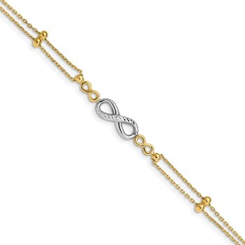14K Two-tone Polished D/C Multi-Strand Infinity Bracelet