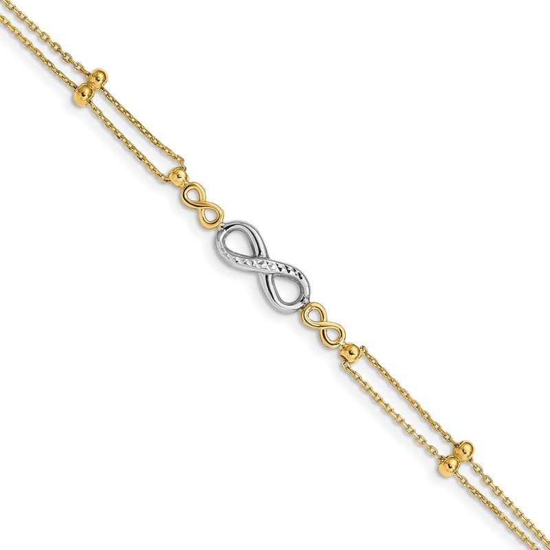 Quality Gold 14K Two-tone Polished D/C Multi-Strand Infinity Bracelet