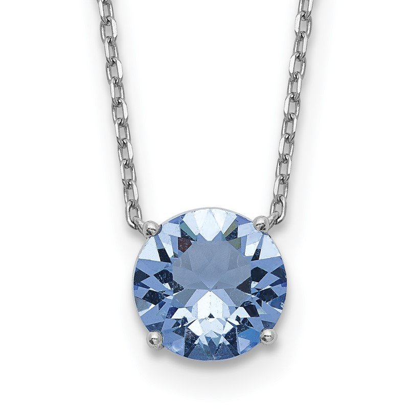Quality Gold Sterling Silver RH-plated with 2 inch ext Blue Swarovski Crystal Necklace