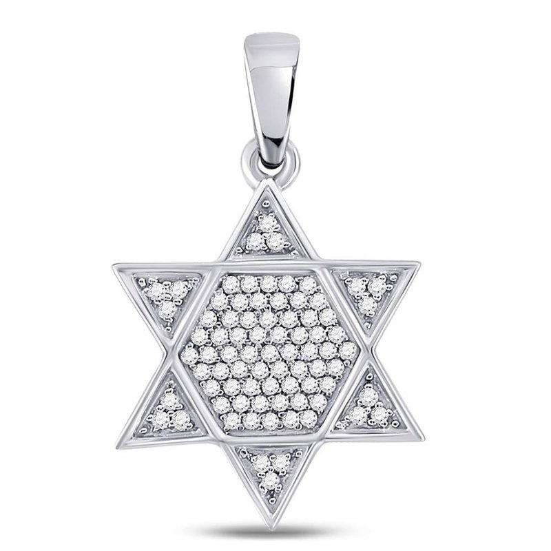 Gold-N-Diamonds 10kt White Gold Mens Round Diamond Star Magen David Jewish Charm Pendant 1/5 Cttw