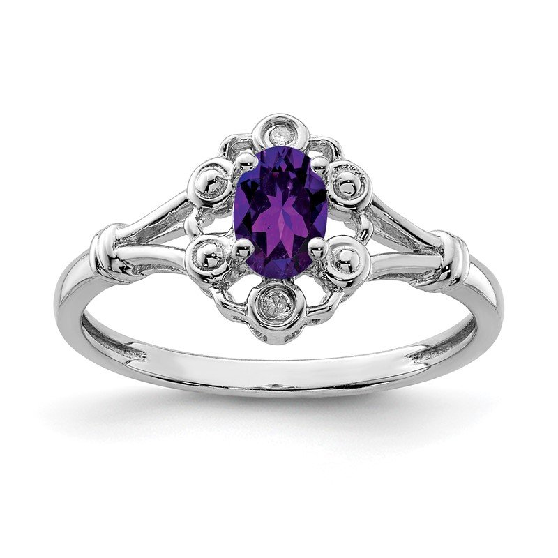 Quality Gold Sterling Silver Rhodium-plated Amethyst & Diam. Ring