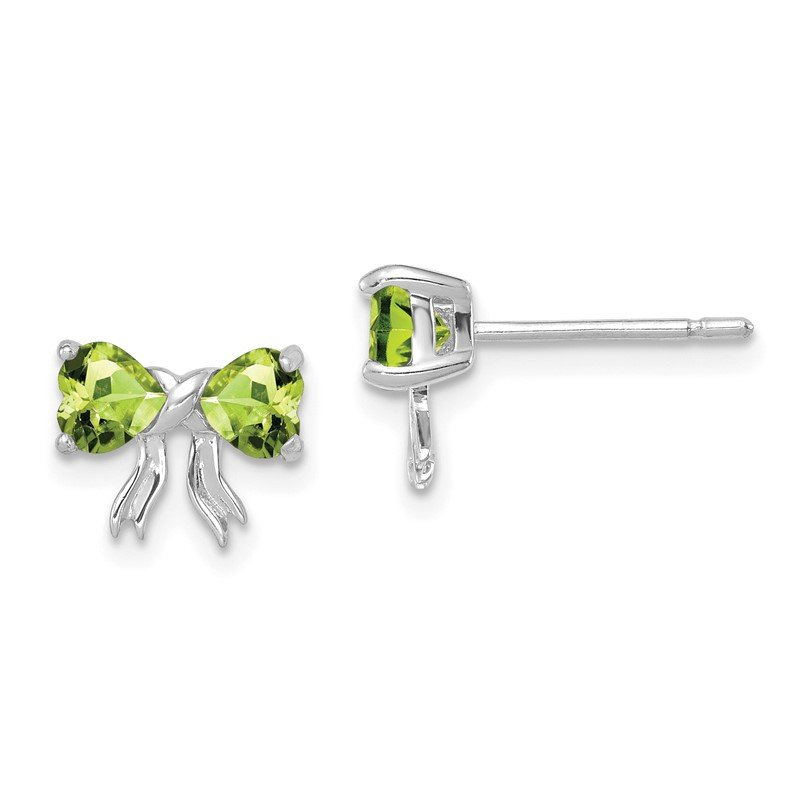 Quality Gold 14k White Gold Polished Peridot Bow Post Earrings