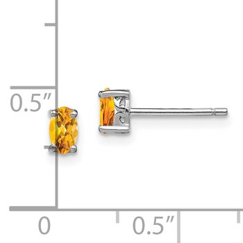 Sterling Silver Rhodium-plated 5x3mm Oval Citrine Post Earrings