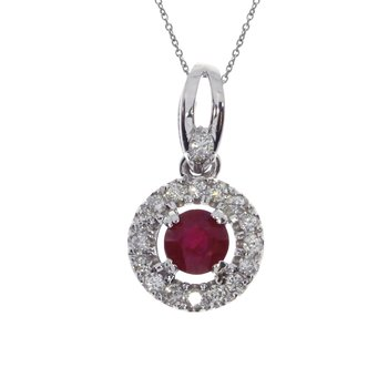 14k White Gold Ruby and Diamond Halo Pendant