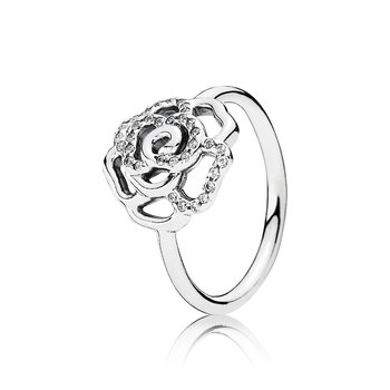 Rose silver ring with cubic zirconia