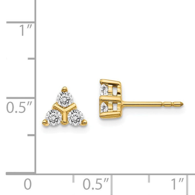 Quality Gold 14k White Gold 3-stone Diamond Triangle Earrings