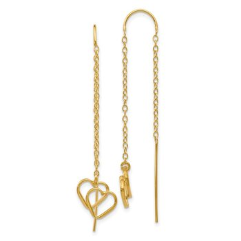 14k Double Heart Threader Earrings