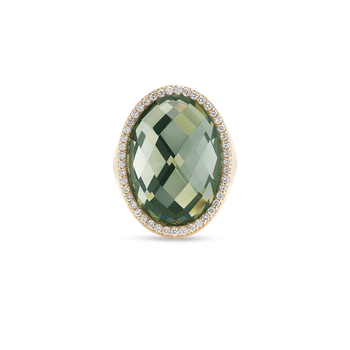Ring With Diamonds And Prasiolite