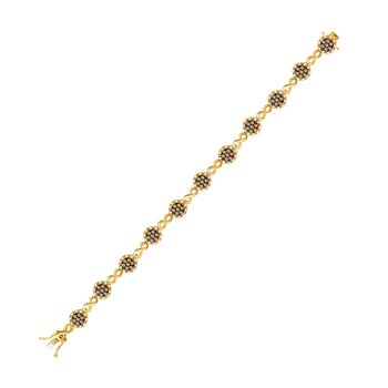 10kt Yellow Gold Womens Round Brown Color Enhanced Diamond Infinity Bracelet 2-1/5 Cttw