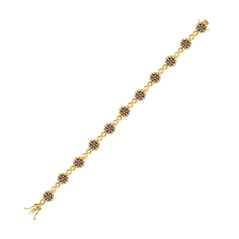 Kingdom Treasures 10kt Yellow Gold Womens Round Brown Color Enhanced Diamond Infinity Bracelet 2-1/5 Cttw