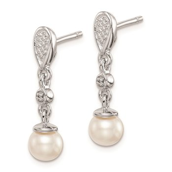 Sterling Silver Rhodium Plated Diamond & FW Cultured Pearl Earrings