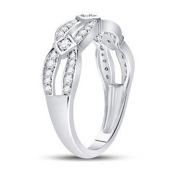 10kt White Gold Womens Round Diamond Open Band Ring 1/3 Cttw
