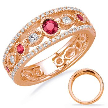Rose Gold Ruby & Diamond Ring