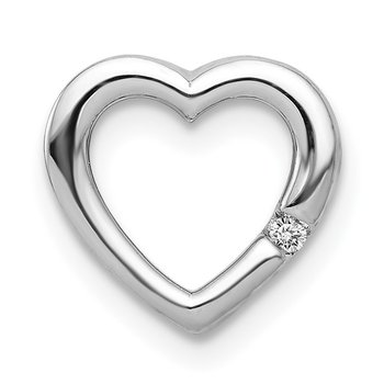 14k White Gold .01ct. Diamond Heart Chain Slide