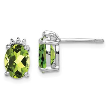 Sterling Silver Rhodium Oval Peridot & Diamond Post Earrings
