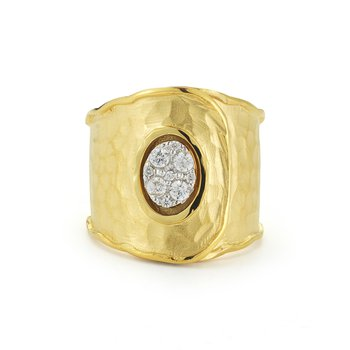 14K-Y BUTTON CUFF RING, 0.25CT