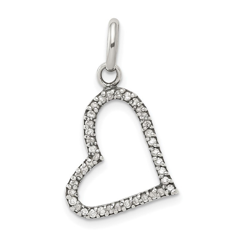 Quality Gold Sterling Silver CZ Heart Pendant