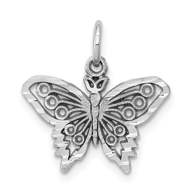 Quality Gold 10k White Gold Butterfly Charm