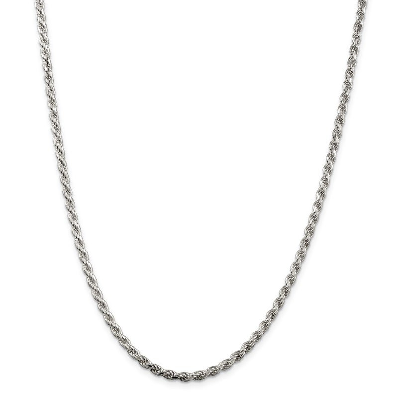 Quality Gold Sterling Silver 3mm Diamond-cut Rope Chain
