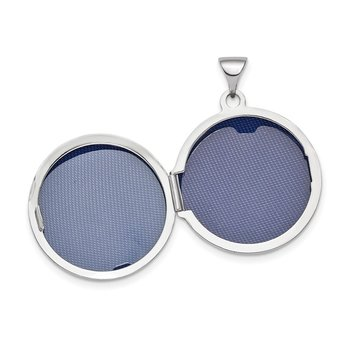 14k White Gold Polished Domed 20mm Round Locket