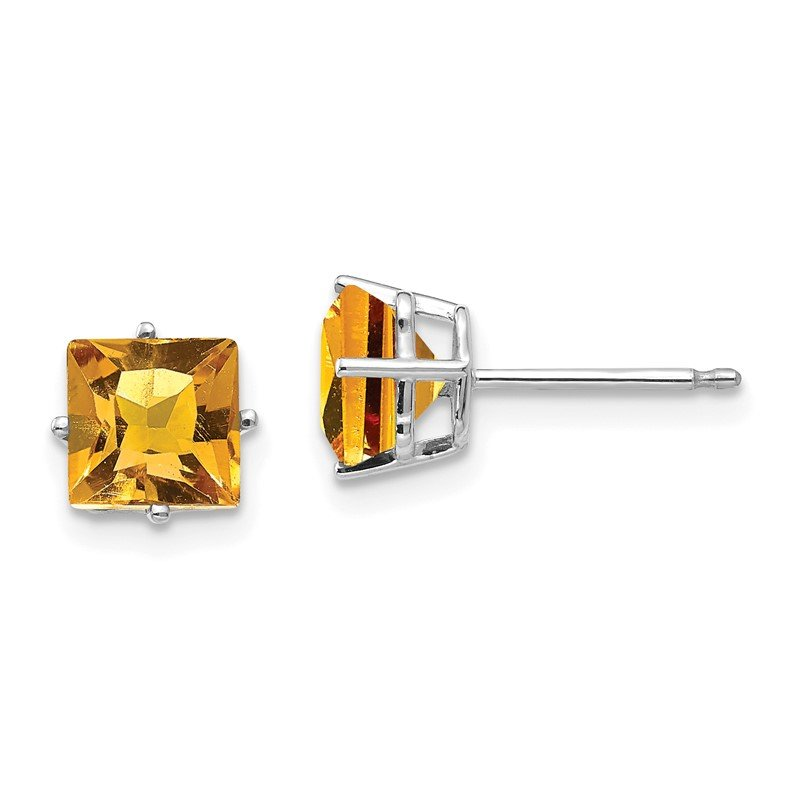 Quality Gold 14k White Gold 6mm Princess Cut Citrine Earrings