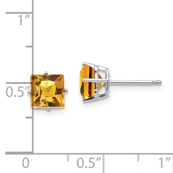 14k White Gold 6mm Princess Cut Citrine Earrings