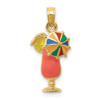 14k Pink Enameled Tropical Drink Pendant