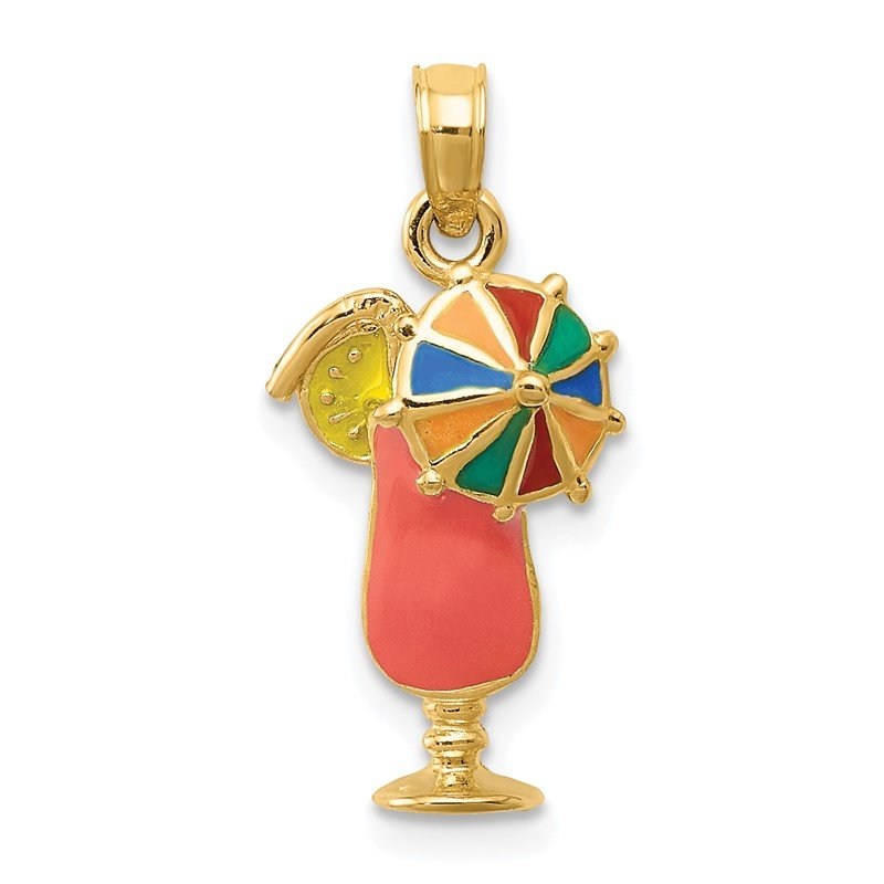 Quality Gold 14k Pink Enameled Tropical Drink Pendant